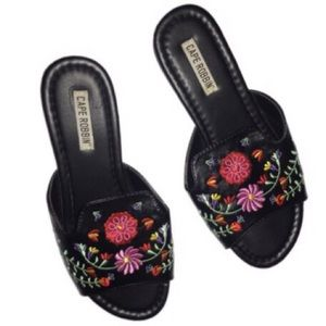 Cape Robbin 7.5 leather embroidered slides sandals